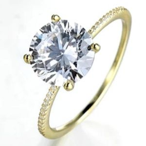 18k Gold 3ct 5A .925 Silver Engagement Ring